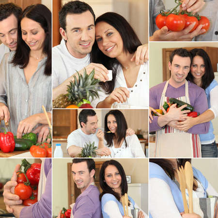Couple cooking collage photo