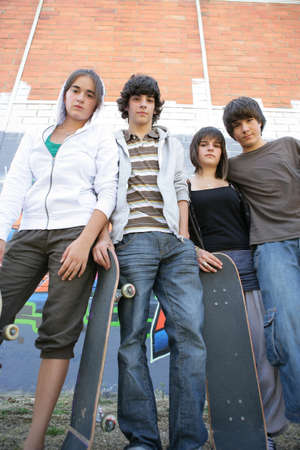 boarders: Teenagers with skateboards