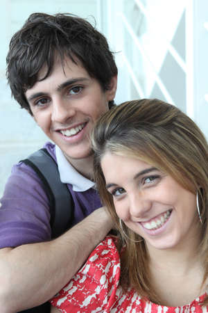 highlighted hair: Portrait of a young man and woman
