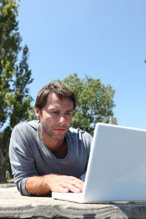 Man working in park