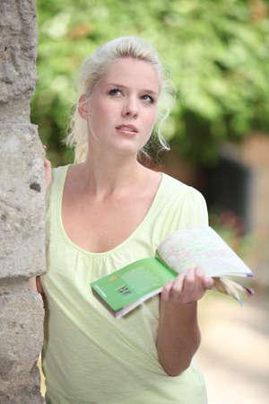 rubia ojos azules: mujer rubia parece perdido con su guía turística Foto de archivo