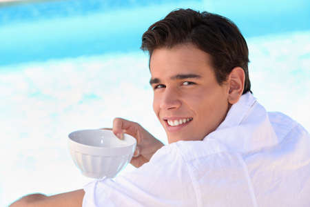 beardless: Young boy with bowl Stock Photo