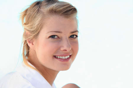 round face: Portrait of blonde woman Stock Photo