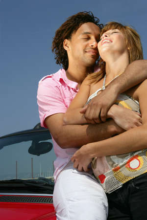 Couple stood by cablet Stock Photo - 14102374