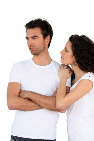 body language: Couple in white t-shirts