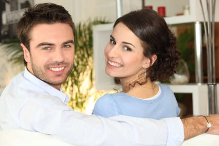 chirpy: Smiling couple sitting on Stock Photo