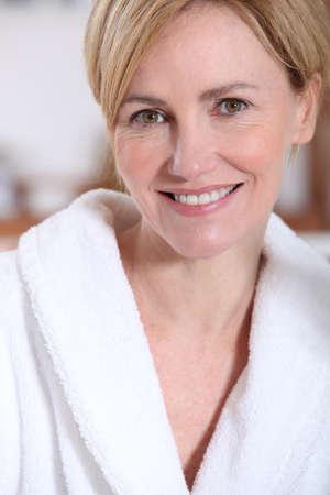 Portrait of a woman wearing a bathrobe photo