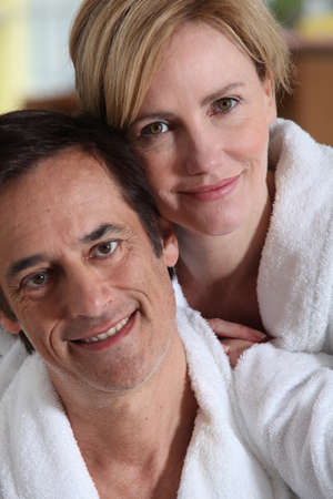 ageing: Portrait of a couple in their bathrobes