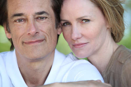 circumspect: Portrait of middle-aged couple Stock Photo
