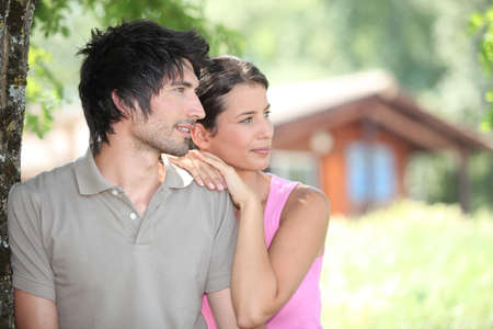 backwoods: Couple in holiday home Stock Photo