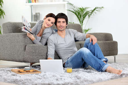 couple home: Couple relaxing at home