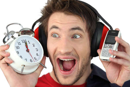 mechanical mouse: Man shutting out noise Stock Photo