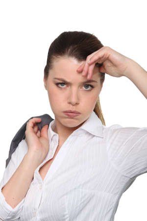 woman seems to be fed up Stock Photo - 14106635