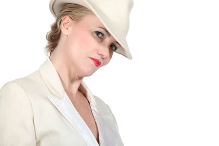 dinner jacket: Woman in white hat and dinner jacket