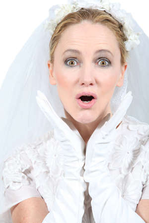 hitched: Bride looking surprised Stock Photo