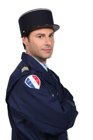Man dressed as French policeman photo
