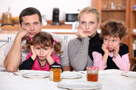 family meal: Angry family