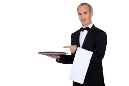 Waiter showing his tray