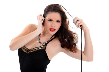 sexy headphones: sexy woman with headset grimacing