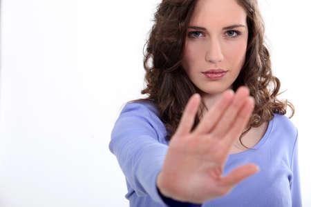 dismiss: Women refusing Stock Photo