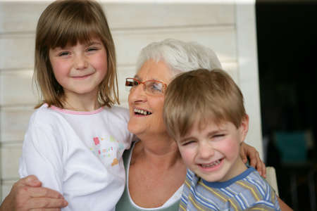 Grandmother looking after grandchildren Stock Photo - 14106341