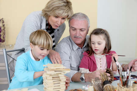 craft supplies: Grandparents spending time with their grandchildren