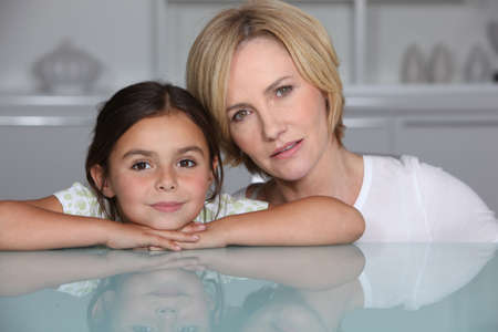 single family home: Mother and daughter at home