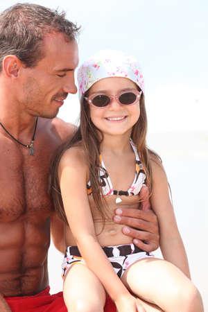 head wear: Padre e figlia Archivio Fotografico