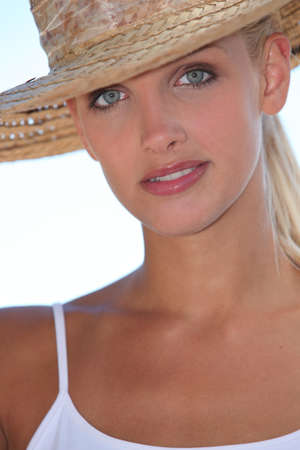 Portrait of an attractive young woman on a summers day photo