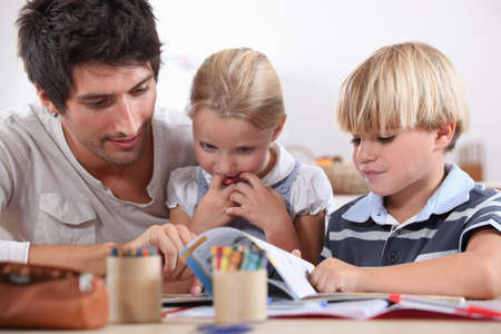 waxes: Father with children Stock Photo