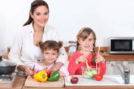 ingredients tap: Cooking with children Stock Photo