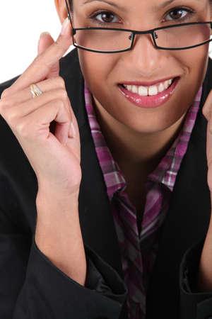 accommodate: Model of female glasses