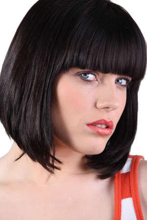 a bob: Impresionante mujer con un peinado se balanceaba Foto de archivo