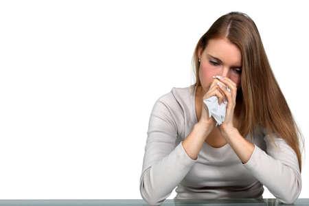 mujer llorando: Mujer enferma con un resfriado Foto de archivo
