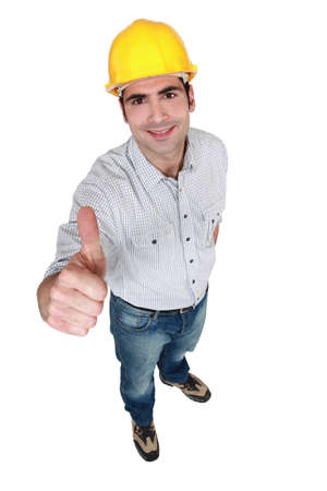 Construction worker giving the thumb's up Stock Photo - 14194645