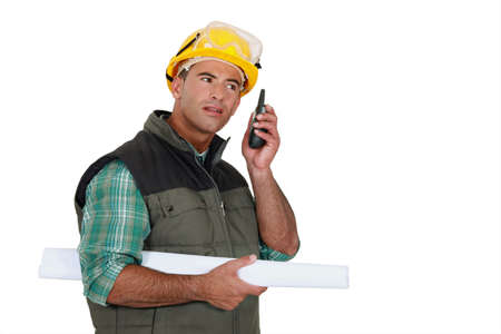 Foreman using radio receiver Stock Photo - 14195318