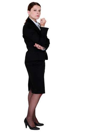indifferent: An unfriendly businesswoman Stock Photo