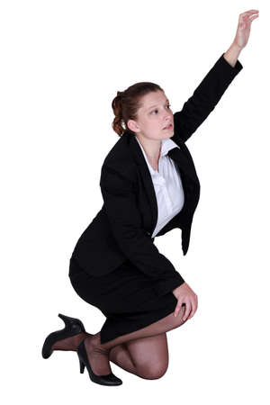 Tired businesswoman desperate to be heard Stock Photo - 14193422