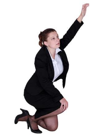 heard: Tired businesswoman desperate to be heard Stock Photo
