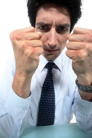 clenching: Businessman clenching his fists Stock Photo