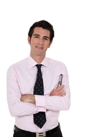 aplomb: Businessman with his arms folded Stock Photo