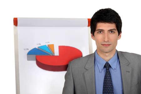 Man stood by flip-chart