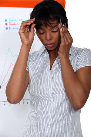 flip chart: Businesswoman suffering from stress headache