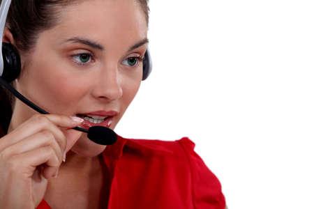 sales representative: Female call-center worker