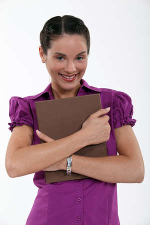 Office worker holding folder Stock Photo - 14195198