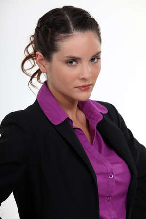 Angry looking businesswoman photo