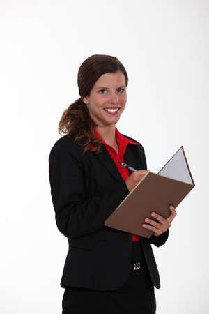 all smiles: secretary all smiles with agenda