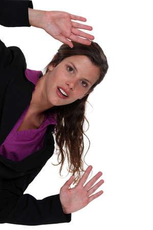 however: Woman waving hands