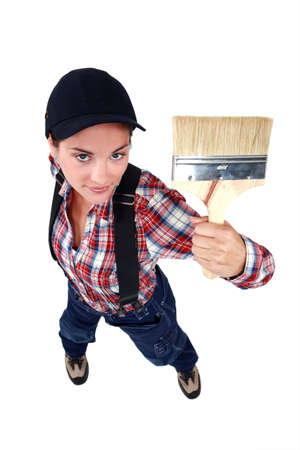 top angle view: Female decorator