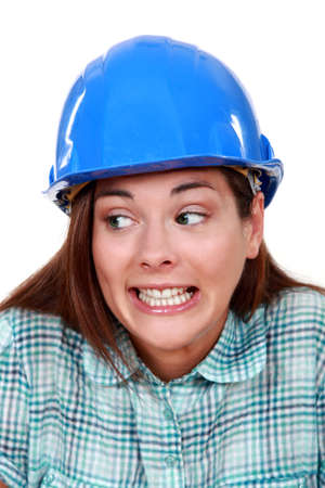 wrongful: A wrongful female construction worker.